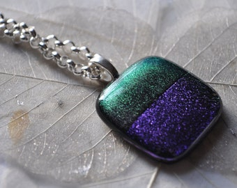 rothko inspired silver dichroic glass necklace,OOAK modern art necklace,purple and green dichroic glass necklace, minimalist modern necklace