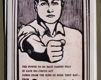 Iowa: Quaker Oats, populist art, illustration, advertising,  circus, blank card
