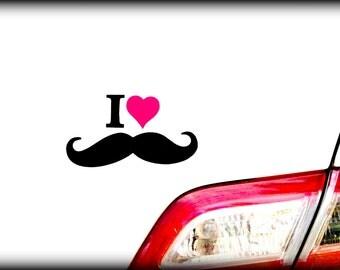 Mustache sticker-I Heart Mustache Decal -Little Man Party-Mustache Party-Car decal-The Handlebar-PINK heart- Mustache Party Favor