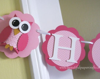 Owl Name Banner - Owl Birthday Party Decorations -Pink Polka dot Name  - Custom Colors