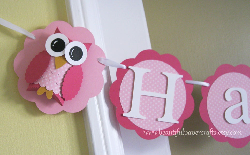 Owl Name Banner Owl Birthday Party Decorations Pink Polka