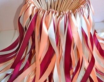 Triple wedding ribbon wands - set of 100