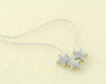 Silver Star Necklace in .925 Sterling Silver Chain. Triple Star Necklace in .925 Sterling Silver Chain. My Lucky Star. Three Wishes.