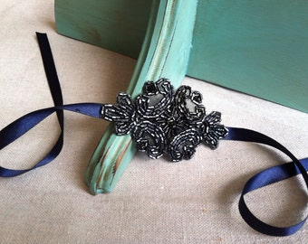 Navy Blue and Hematite Beaded Ribbon Bracelet