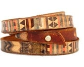 Women Leather bracelet - Native american vintage style design - gift for her- gift for him