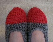 Crocheted Slippers, Made To Order,  Red and Gray, OR  Pick Your Own Color