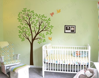 Tree Wall Decal Nursery Large Tree Mural Cute Birds Baby Kids Room Decor  Removable Vinyl Stickers