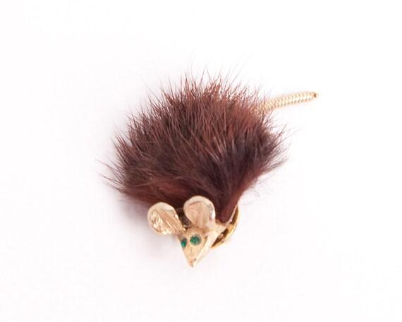 Vintage Mouse Brooch Mink Fur Pin Green Rhinestone Eyes Chocolate Brown Gold Tone