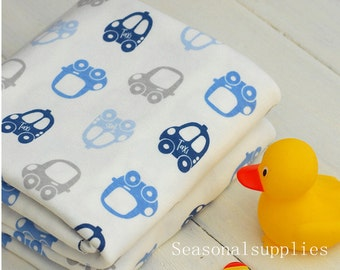 Cotton Knitted Fabric,lovely Blue TAXI car, Cute Cartoon Pattern,Stretch Fabric--1/2 yard (C273)