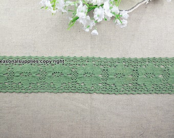 1 Yard Lace Trims 5.5cm Wide,Fabric Mesh Shape,Green Color,Cotton--Classic Style--Other color (YL80)
