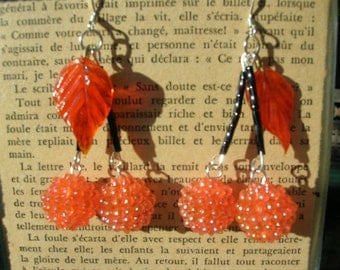 cherry earrings Halloween orange black pumpkin Pin Up Girl earrings rockabilly kitschy retro handmade cherries fruit jewelry