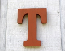 "Kids Room Wooden Letter T 8"" Tall Rustic Nursery Decor painted Terra Cotta Great Gift"