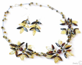 Baltic Amber Necklace and Earrings Wedding set.