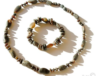 Raw Unpolished Black Baltic Amber Necklace and Matching Bracelet. Unisex