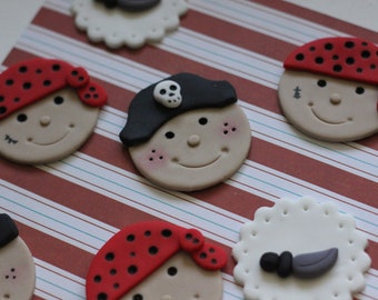Pirate-Themed Fondant Toppers - Great for Cupcakes, Brownies, Cookies and More