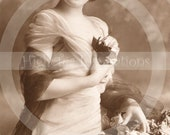 WOMAN 6  - Vintage Postcard - Digital Scan -  Printable Download - Photograph - Woman - HAT