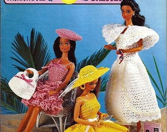 Fashion Doll Fun in the Sun Dresses Crochet Pattern Book Annies Attic 87D70