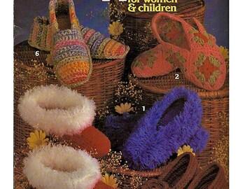 Slippers for Women & Children Crochet Pattern Book   Leisure Arts 205