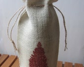 "Burlap Wine Bag with Hand Screened ""Tree"" Print - Rust Glitter"