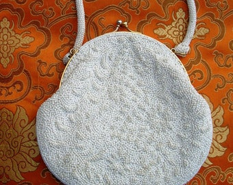 Vintage 1950's White Beaded Evening Bag Handmade Abstract Floral Maze Design Faceted & Seed Beads Change Purse Imperial Made in Japan label