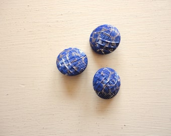 set of three blue glass vintage buttons