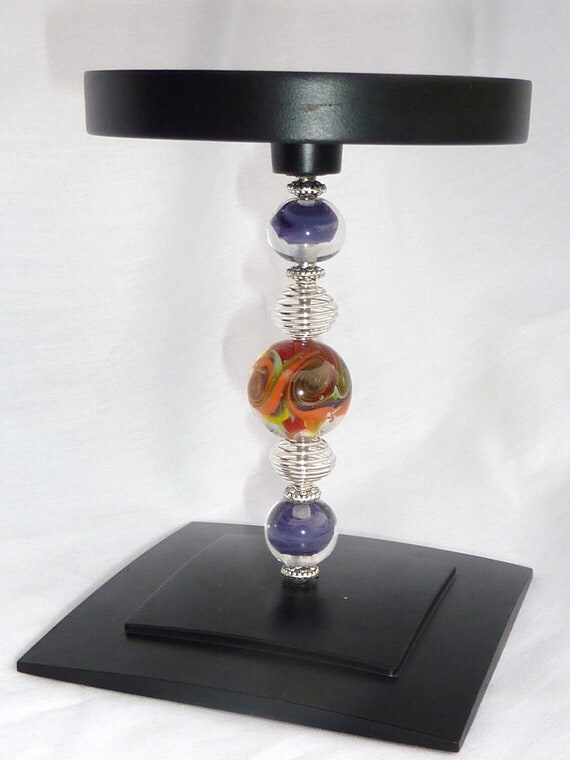 Decorative Lampwork Pillar Candle Holder . by Lori Davidson . Very Glassy Gifts