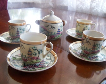 Vintage Japanese Chinese Pink Tea Cups Set of 4 Demitasse / Children's Tea Cups with Saucers and Sugar Bowl ca 50