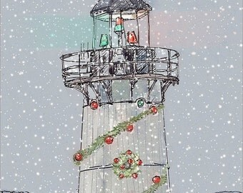 Christmas lighthouse- landscape painting of beautiful New England Lighthouse nautical Christmas theme home decor wall decor hoilday8.5x11