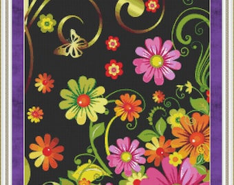 Cross Stitch Pattern Summer Garden Bold Vivid Flowers on Black Instant Download PdF