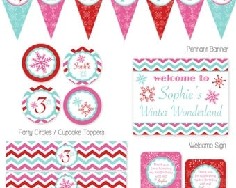 Winter Wonderland Birthday Party Package. Winder ONEderland Party. DIY Printable Party Package.