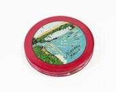 Vintage Powder Compact 1940s Enamel Handpainted Scene Niagara Falls Novelty Goldtone Mirrored
