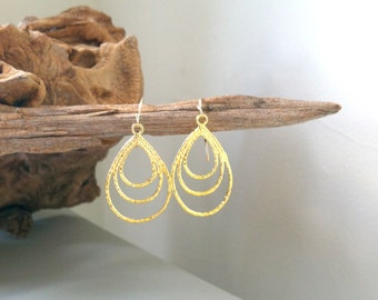 SALE - Gold Brushed Teardrop Earrings, 14k gold fill / Summer Collection / textured, chic, simple, modern, delicate