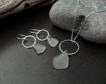 Sea glass jewelry,  Frosted white sea glass infinity circle necklace and earring set