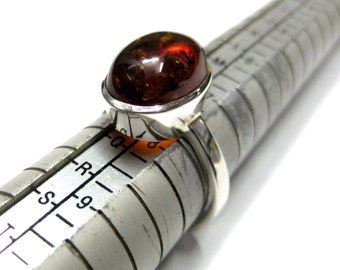 925 Sterling Silver Ring studded Fine Quality Oval Shape Amber Gemstone , Super Fine Amber Ring , fine Rings