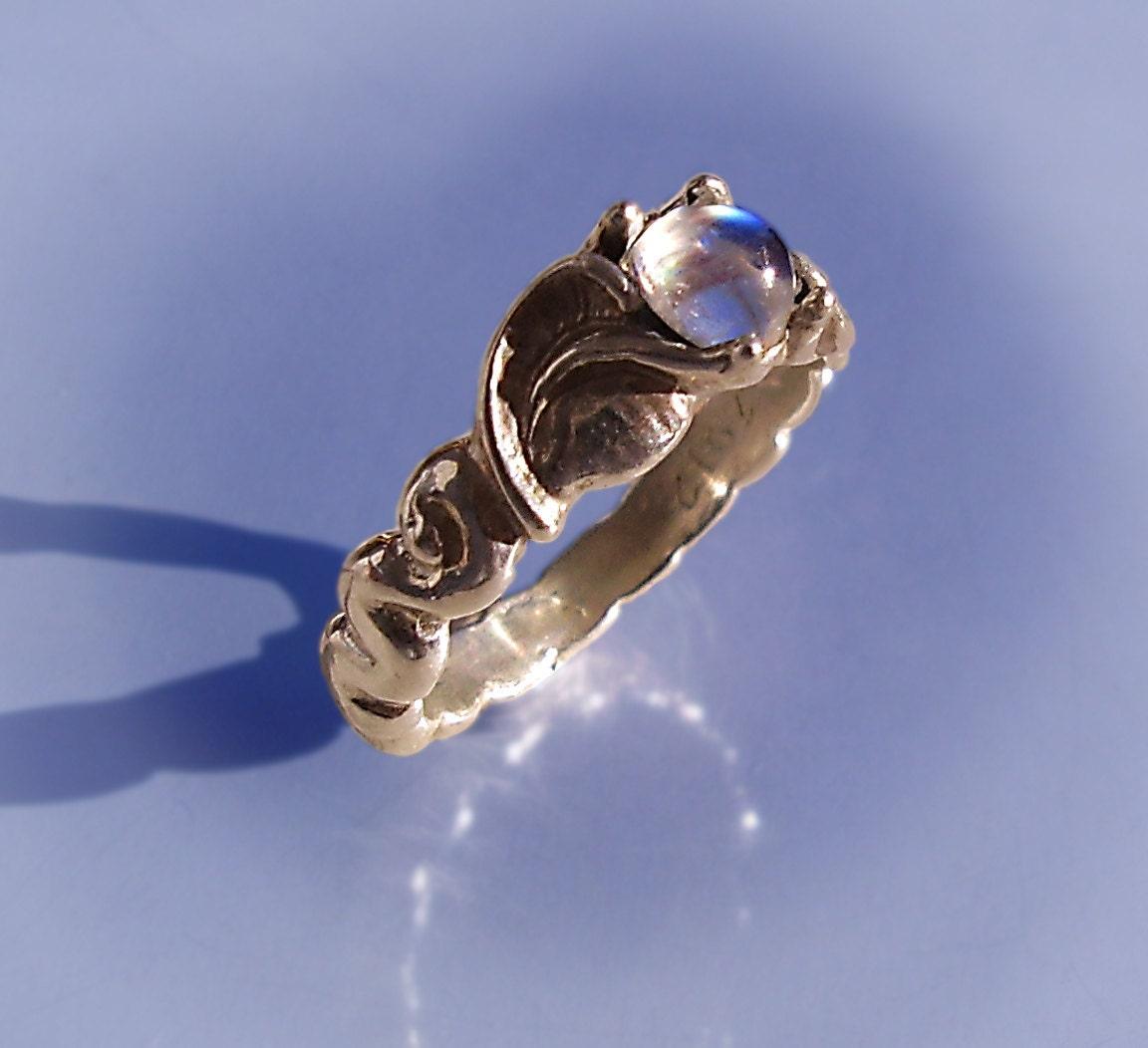 adularia moonstone leaf and spiral ring moonstone wedding band zoom