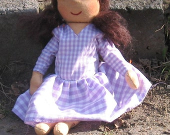 Rag doll who loves purple violets and snow, Waldorfart, doll-sized doll
