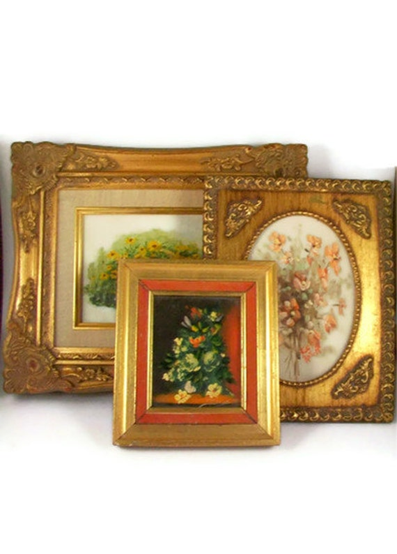RESERVED for FAITH  Vintage Framed Floral Painting Set Original Canvas Artwork Ornate