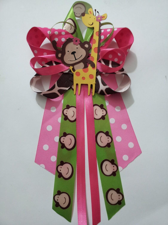 girl jungle theme monkey and giraffe baby shower pin corsage