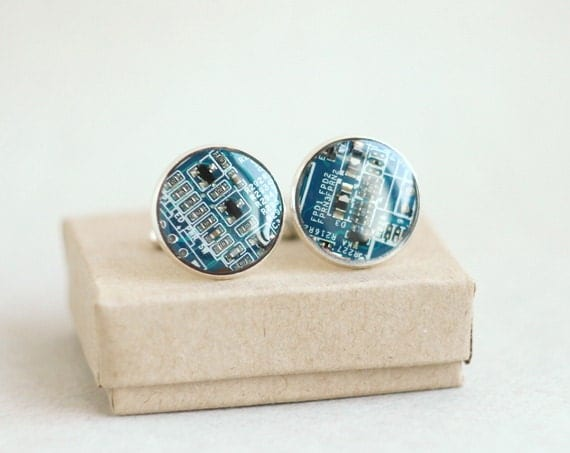 Blue Circuit board Cuff links - Geekery - computer parts accessories - Father's day gift - recycled computer - techie cufflinks