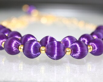 Vintage Purple Silk Beads on Gold Filled Chain