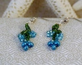 REDUCED Beaded Earrings: Frosty Cerulean Blue Flowers Growing on a Forest Green Vine - OOAK - Frosted Metallic Pearlized