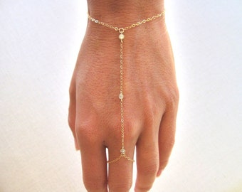 slave bracelet, hand chain, gold filled bracelet, ring chain bracelet with 3 tiny cz cubic zirconia diamonds,