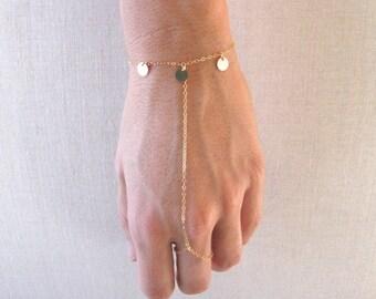slave bracelet - hand chain // delicate 14k gold filled chain and sequin discs finger ring bracelet
