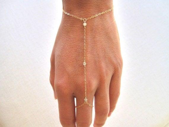 slave bracelet hand chain gold filled bracelet ring chain