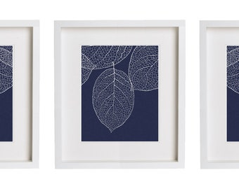 Navy Wall Art - West Elm Leaf Print Set of Three