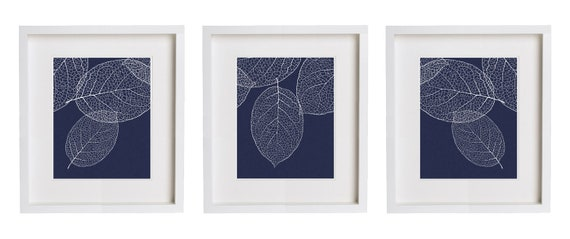 Navy Blue Wall Art navy wall art west elm leaf print set of 3 botanical prints