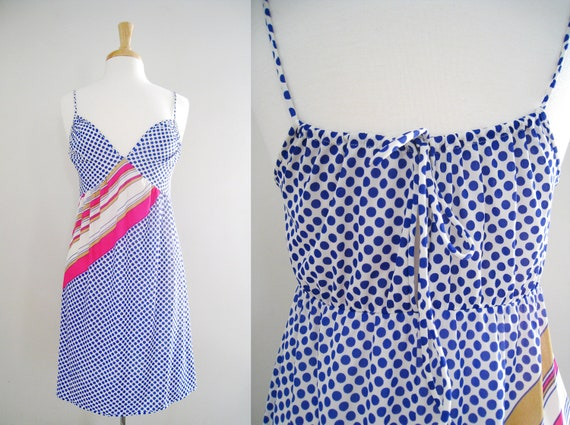 Vintage Lingerie Nylon Nightgown Slip Dress - Beach Cover Up - Polka Dot Summer Dress - Size Small to Medium