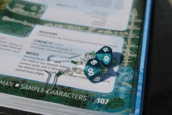 Green Pearl D10 Dice Earrings with Swarovski Crystals