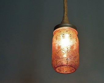 Mason Jar Pendant Lamp, Bohemian Lighting Hanging Pendant Lamp, Boho Henna Jar With Jute Lamp Cord, Moroccan Lantern Style Ceiling Lamp