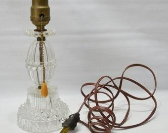 Vintage Glass Table Lamp - Electric - Lighting - Bedside Lamp - Vanity Lamp